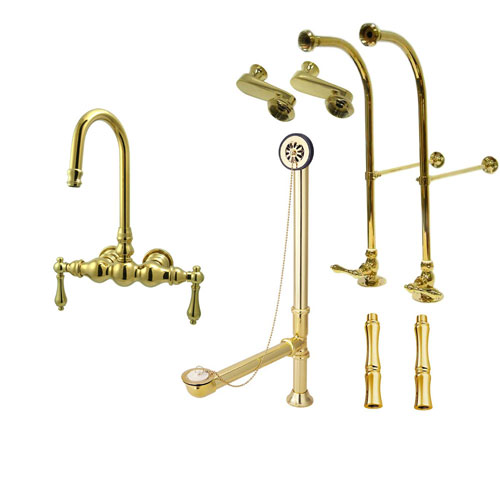 Freestanding Floor Mount Polished Brass Metal Lever Handle Clawfoot Tub Filler Faucet Package 1T2FSP