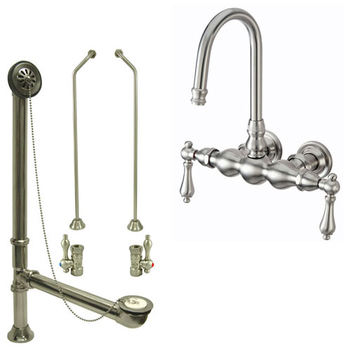 Satin Nickel Wall Mount Clawfoot Bath Tub Filler Faucet Package CC1T8system