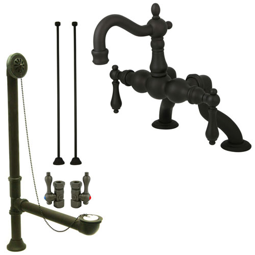 Oil Rubbed Bronze Deck Mount Clawfoot Tub Faucet Package w Drain Supplies Stops CC2001T5system
