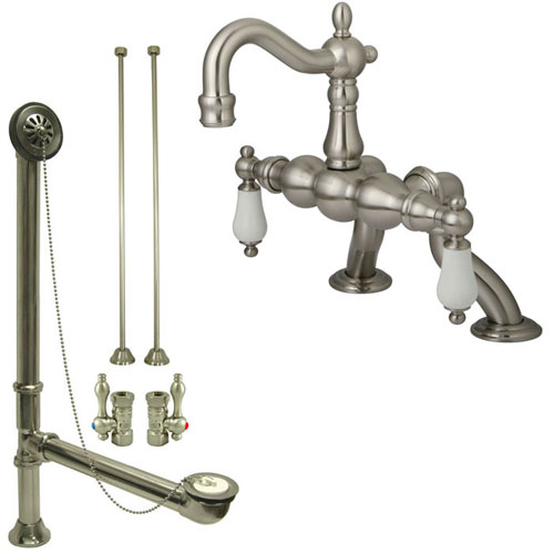 Satin Nickel Deck Mount Clawfoot Tub Faucet Package w Drain Supplies Stops CC2005T8system