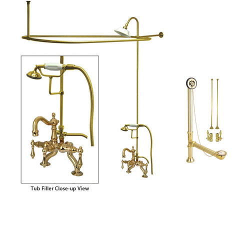 Polished Brass Clawfoot Tub Faucet Shower Kit with Enclosure Curtain Rod 2007T2CTS