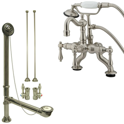 Satin Nickel Deck Mount Clawfoot Tub Faucet w hand shower w Drain Supplies Stops CC2007T8system