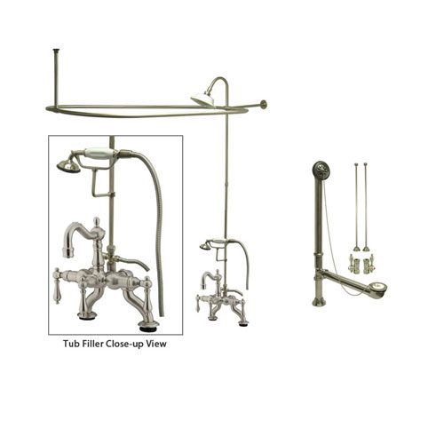 Satin Nickel Clawfoot Tub Faucet Shower Kit with Enclosure Curtain Rod 2007T8CTS