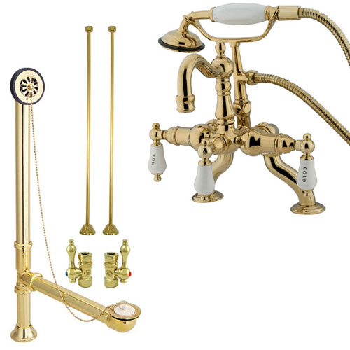 Polished Brass Deck Mount Clawfoot Tub Faucet w hand shower Drain Supplies Stops CC2009T2system