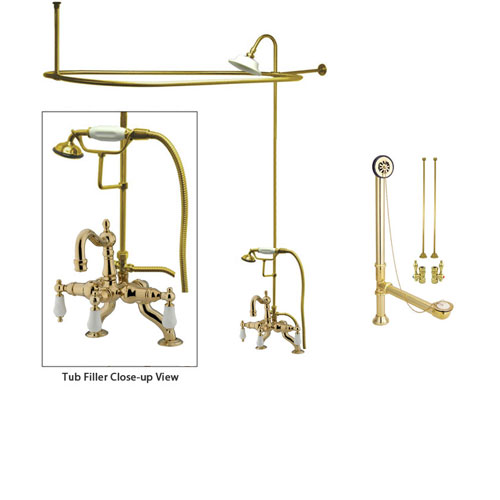 Polished Brass Clawfoot Tub Faucet Shower Kit with Enclosure Curtain Rod 2011T2CTS
