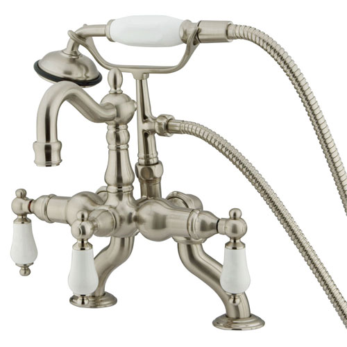Kingston Satin Nickel Deck Mount Clawfoot Tub Faucet w hand shower CC2011T8