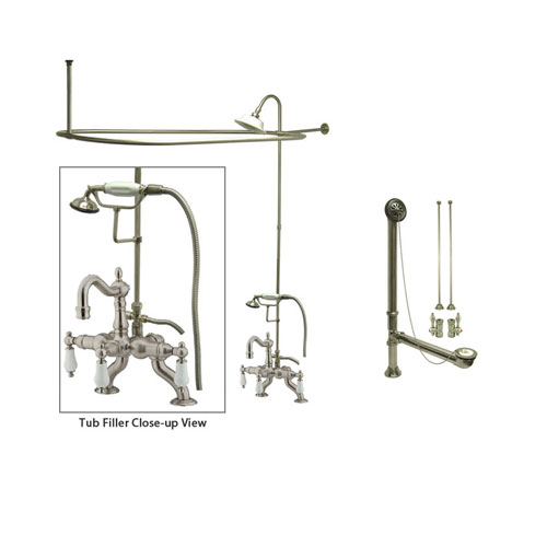Satin Nickel Clawfoot Tub Faucet Shower Kit with Enclosure Curtain Rod 2011T8CTS