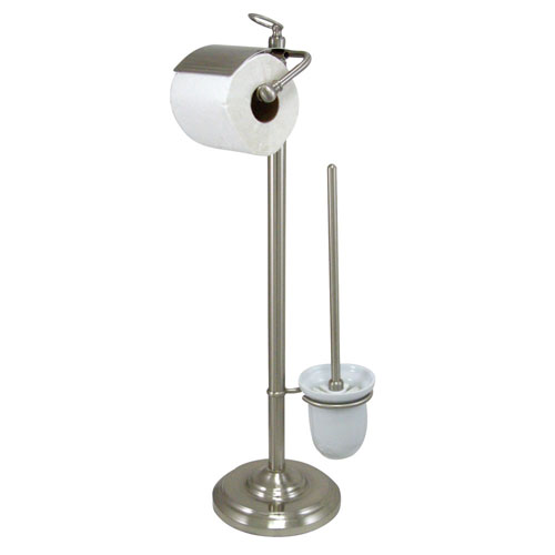 Kingston Satin Nickel pedestal freestanding Toilet Paper and Brush Holder CC2018