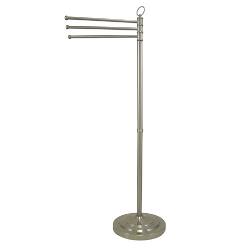 Kingston Satin Nickel pedestal freestanding Tower Rack with Three Bars CC2028