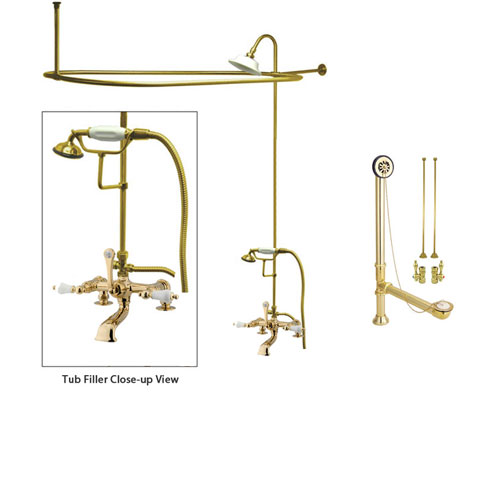 Polished Brass Clawfoot Tub Faucet Shower Kit with Enclosure Curtain Rod 205T2CTS