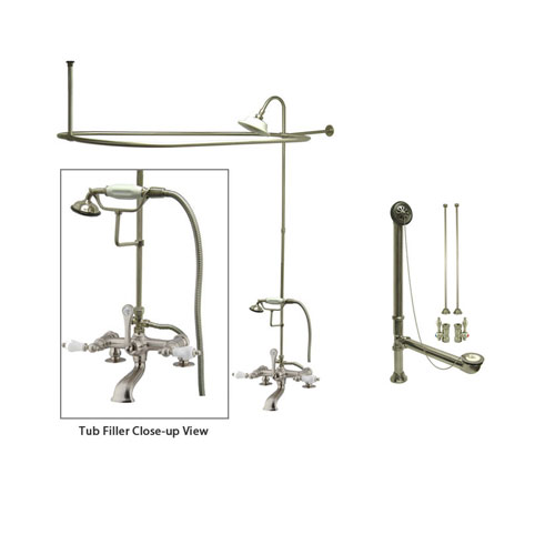 Satin Nickel Clawfoot Tub Faucet Shower Kit with Enclosure Curtain Rod 205T8CTS