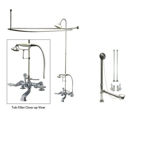 Chrome Clawfoot Tub Faucet Shower Kit with Enclosure Curtain Rod 206T1CTS