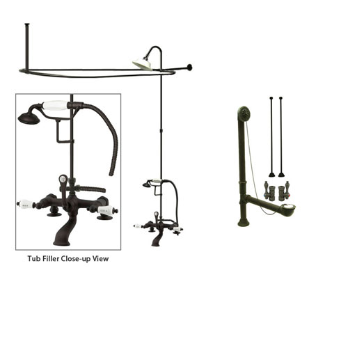 Oil Rubbed Bronze Clawfoot Bath Tub Shower Faucet Kit with Enclosure Curtain Rod 207T5CTS