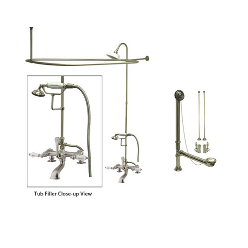 Satin Nickel Clawfoot Tub Faucet Shower Kit with Enclosure Curtain Rod 207T8CTS