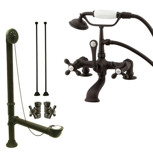 Oil Rubbed Bronze Deck Mount Clawfoot Tub Faucet W Hand