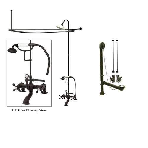 Oil Rubbed Bronze Clawfoot Tub Faucet Shower Kit with Enclosure Curtain Rod 209T5CTS