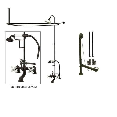 Oil Rubbed Bronze Clawfoot Tub Faucet Shower Kit with Enclosure Curtain Rod 211T5CTS