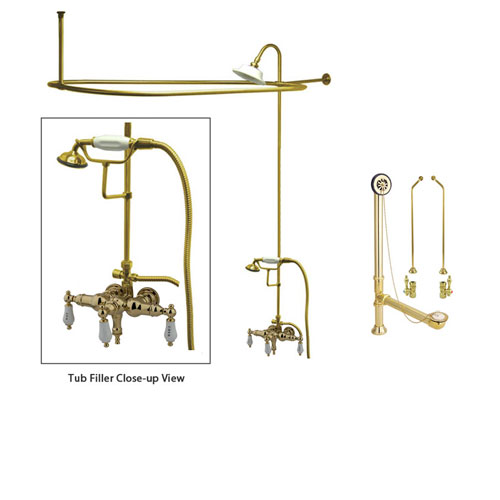 Polished Brass Clawfoot Tub Shower Faucet Kit with Enclosure Curtain Rod 21T2CTS
