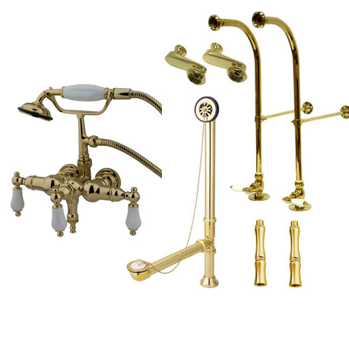 Freestanding Floor Mount Polished Brass White Porcelain Lever Handle Clawfoot Tub Filler Faucet with Hand Shower Package 23T2FSP