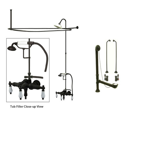 Oil Rubbed Bronze Clawfoot Tub Faucet Shower Kit with Enclosure Curtain Rod 23T5CTS