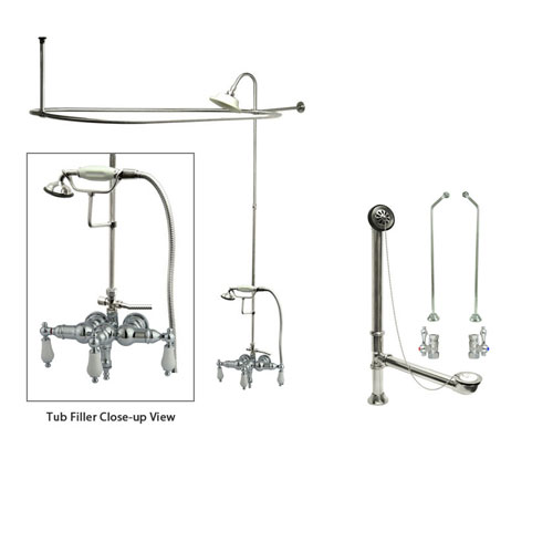 Chrome Clawfoot Tub Faucet Shower Kit with Enclosure Curtain Rod 24T1CTS