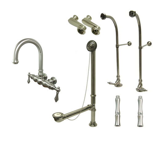Freestanding Floor Mount Satin Nickel Metal Lever Handle Clawfoot Tub Filler Faucet Package 3001T8FSP
