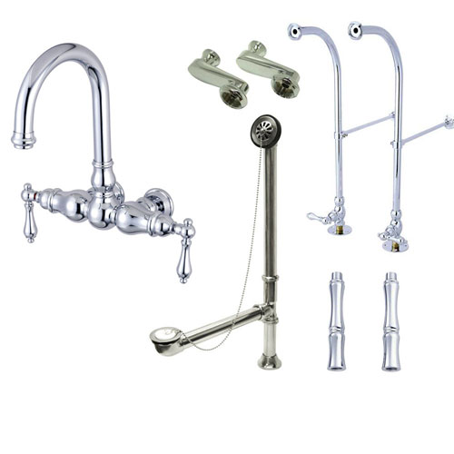 Freestanding Floor Mount Chrome Metal Lever Handle Clawfoot Tub Filler Faucet Package 3002T1FSP