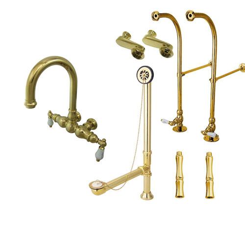 Freestanding Floor Mount Polished Brass Hot/Cold Porcelain Lever Handle Clawfoot Tub Filler Faucet Package 3003T2FSP