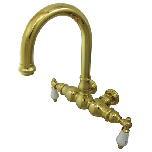 Kingston Brass Polished Brass Wall Mount Clawfoot Tub Faucet CC3003T2
