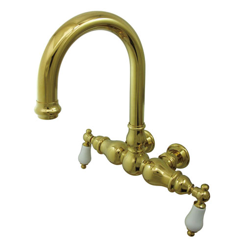 Kingston Brass Polished Brass Wall Mount Clawfoot Tub Faucet CC3005T2