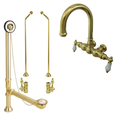 Polished Brass Wall Mount Clawfoot Tub Faucet Package w Drain Supplies Stops CC3005T2system