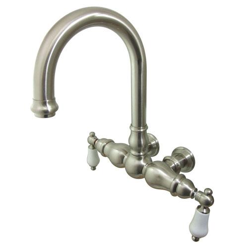Kingston Brass Satin Nickel Wall Mount Clawfoot Tub Faucet CC3005T8