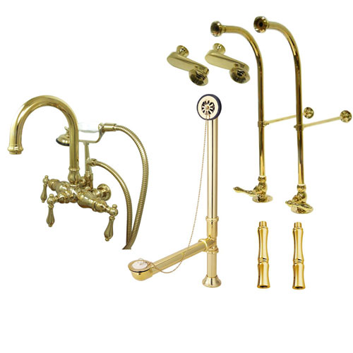 Freestanding Floor Mount Polished Brass Metal Lever Handle Clawfoot Tub Filler Faucet with Hand Shower Package 3013T2FSP