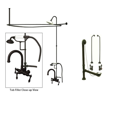 Oil Rubbed Bronze Clawfoot Tub Faucet Shower Kit with Enclosure Curtain Rod 3013T5CTS