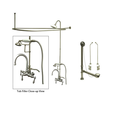 Satin Nickel Clawfoot Tub Faucet Shower Kit with Enclosure Curtain Rod 3013T8CTS