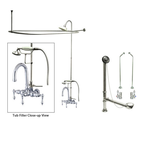 Chrome Clawfoot Tub Faucet Shower Kit with Enclosure Curtain Rod 3014T1CTS