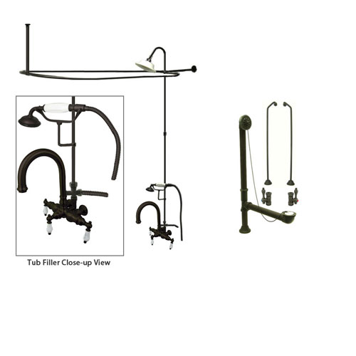 Oil Rubbed Bronze Clawfoot Tub Faucet Shower Kit with Enclosure Curtain Rod 3015T5CTS