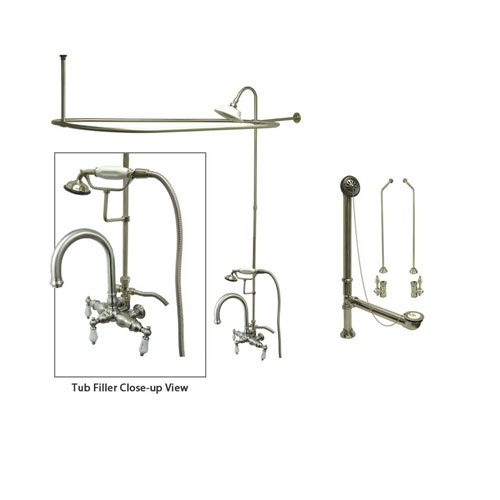Satin Nickel Clawfoot Tub Faucet Shower Kit with Enclosure Curtain Rod 3015T8CTS