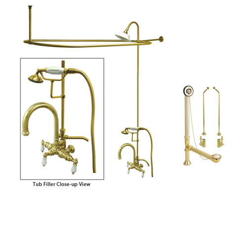 Polished Brass Clawfoot Bath Tub Faucet Shower Kit with Enclosure Curtain Rod 3017T2CTS