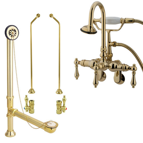Polished Brass Wall Mount Clawfoot Tub Faucet w hand shower Drain Supplies Stops CC301T2system