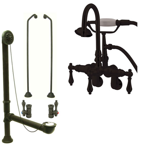 Oil Rubbed Bronze Wall Mount Clawfoot Tub Faucet Package w Drain Supplies Stops CC301T5system