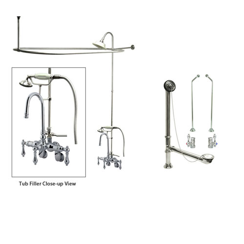 Chrome Clawfoot Tub Faucet Shower Kit with Enclosure Curtain Rod 302T1CTS