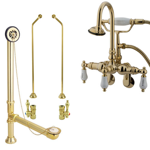Polished Brass Wall Mount Clawfoot Tub Faucet w hand shower Drain Supplies Stops CC303T2system