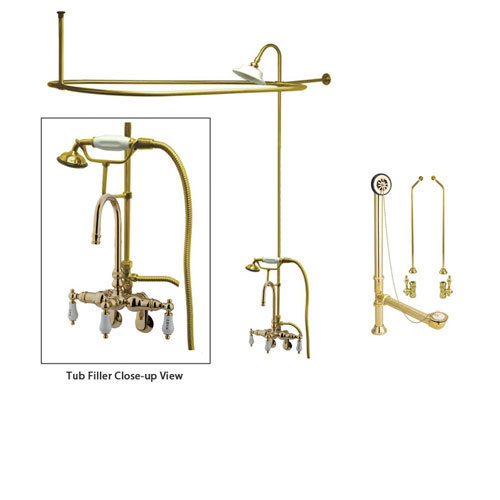 Polished Brass Clawfoot Tub Faucet Shower Kit with Enclosure Curtain Rod 303T2CTS
