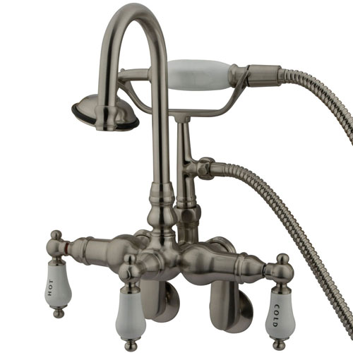 Kingston Brass Satin Nickel Wall Mount Clawfoot Tub Faucet w hand shower CC303T8