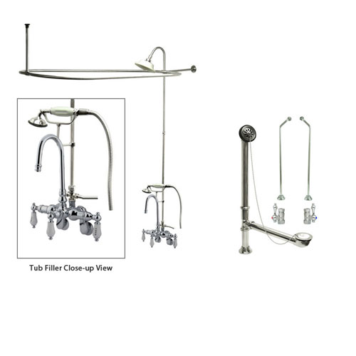 Chrome Clawfoot Tub Faucet Shower Kit with Enclosure Curtain Rod 304T1CTS