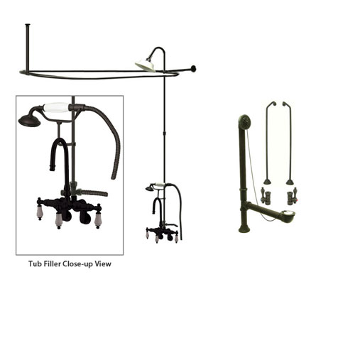 Oil Rubbed Bronze Clawfoot Tub Faucet Shower Kit with Enclosure Curtain Rod 305T5CTS