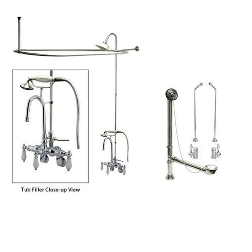 Chrome Clawfoot Tub Faucet Shower Kit with Enclosure Curtain Rod 306T1CTS