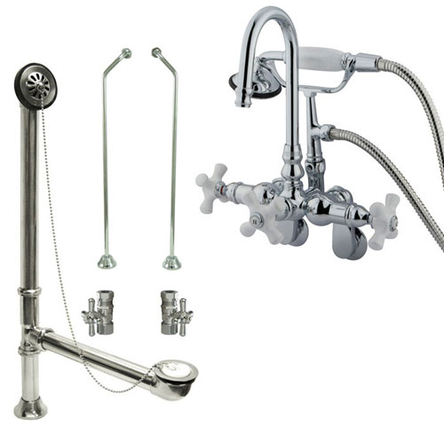 Chrome Wall Mount Clawfoot Tub Faucet w hand shower w Drain Supplies Stops CC308T1system