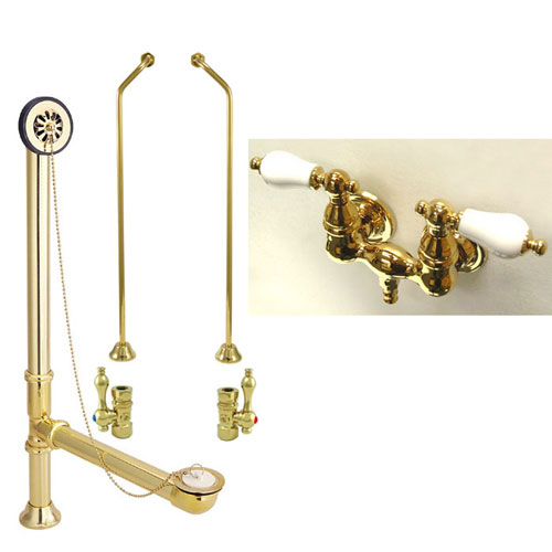Polished Brass Wall Mount Clawfoot Tub Filler Faucet Package CC35T2system